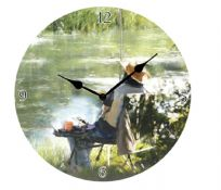 Fisherman Round Wooden Fishing Wall Clock